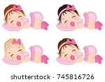 vector cute baby girls sleeping.... | Shutterstock .eps vector #745816726