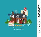 cottage rental concept vector... | Shutterstock .eps vector #745824376