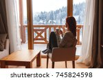 woman sitting in a comfortable... | Shutterstock . vector #745824598