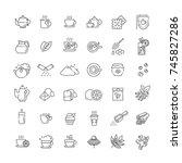 tea icon set. thin line vector... | Shutterstock .eps vector #745827286