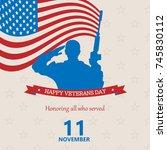 banner of happy veterans day ....   Shutterstock .eps vector #745830112