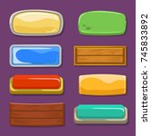 multicolored funny buttons on a ... | Shutterstock .eps vector #745833892
