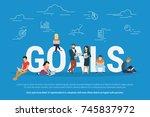 goals achievement concept... | Shutterstock . vector #745837972