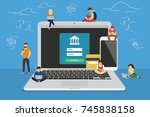 mobile banking concept... | Shutterstock . vector #745838158