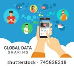 global data sharing data... | Shutterstock . vector #745838218