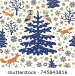 christmas holiday background.... | Shutterstock .eps vector #745843816