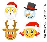 set of four smileys for the new ... | Shutterstock .eps vector #745844026