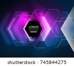 digital techno abstract... | Shutterstock .eps vector #745844275