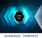 digital techno abstract... | Shutterstock .eps vector #745844425