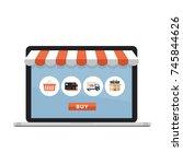 online shopping concept. open... | Shutterstock .eps vector #745844626