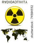radioactivity sign with earth... | Shutterstock .eps vector #74584552