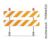 under construction barrier... | Shutterstock .eps vector #745846522