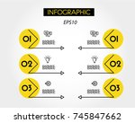 yellow linear infographic set... | Shutterstock .eps vector #745847662
