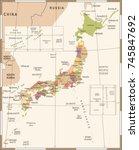 japan map   vintage detailed... | Shutterstock .eps vector #745847692