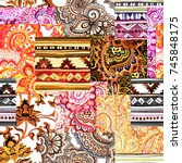 seamless ethnic ornamental... | Shutterstock . vector #745848175