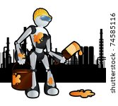 Animated construction site painter robot illustration - stock vector
