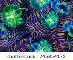 hibiscus pattern. watercolor...   Shutterstock . vector #745854172