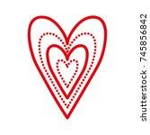 hearts love romance dots linear ... | Shutterstock .eps vector #745856842