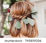 green leaves and red flowers in ... | Shutterstock . vector #745859206