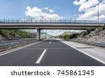 bridge over a highway on a... | Shutterstock . vector #745861345