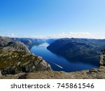 view of lysefjorden from pulpit ... | Shutterstock . vector #745861546