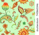 seamless paisley pattern.... | Shutterstock . vector #745863346