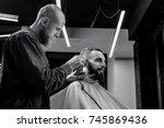 barbershop theme. bald barber... | Shutterstock . vector #745869436