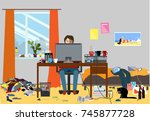 illustration of a disorganized... | Shutterstock .eps vector #745877728