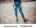 unrecognizable young woman or... | Shutterstock . vector #745884328
