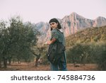 young female adventurer or... | Shutterstock . vector #745884736