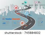 business road map timeline... | Shutterstock .eps vector #745884832