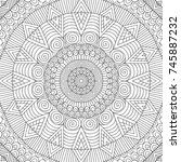 adult colouring book page with... | Shutterstock .eps vector #745887232