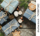 festive gifts with boxes ... | Shutterstock . vector #745887382