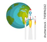 planet earth with rocket flying | Shutterstock .eps vector #745896262