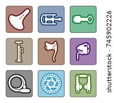 icons set of bicycle parts and... | Shutterstock .eps vector #745902226
