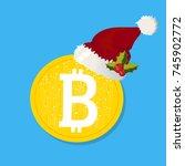 bitcoin. digital currency.... | Shutterstock .eps vector #745902772
