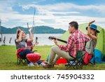 group of asian friends enjoy...   Shutterstock . vector #745904332