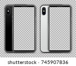 realistic white and jet black... | Shutterstock .eps vector #745907836