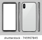 realistic white slim smartphone ... | Shutterstock .eps vector #745907845