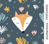 vector cute fox and pattern.... | Shutterstock .eps vector #745914442