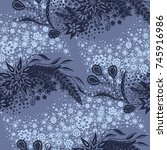 seamless floral pattern with...   Shutterstock .eps vector #745916986