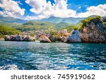 sveti stefan  old historical... | Shutterstock . vector #745919062