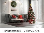 christmas living room with a... | Shutterstock . vector #745922776