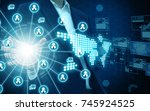 businessman holding network... | Shutterstock . vector #745924525