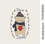 cute winter teddy bear hand... | Shutterstock .eps vector #745928302