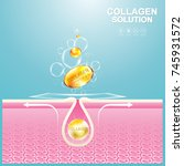 collagen solution serum drop... | Shutterstock .eps vector #745931572