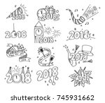 set of new year greeting... | Shutterstock .eps vector #745931662