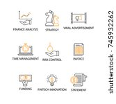 modern flat thin line icon set... | Shutterstock .eps vector #745932262