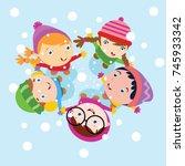 kid playing in snow  children... | Shutterstock .eps vector #745933342