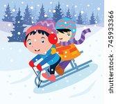 kid playing in snow  children... | Shutterstock .eps vector #745933366
